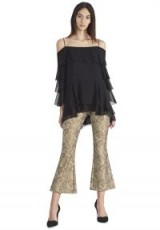 Alice + Olivia DREW 5 POCKET CROPPED FLARE PANT | gold kick flare trousers