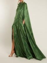 ROSIE ASSOULIN El Capo detachable-cape satin gown ~ green statement gowns