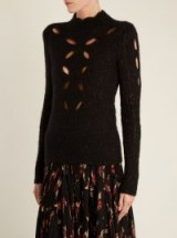 ISABEL MARANT Elea cut-out speckled ribbed-knit top ~ black high neck knitted tops