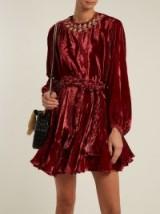 RHODE RESORT Ella tie-waist embroidered velvet dress ~ burgundy-red dresses ~ boho chic