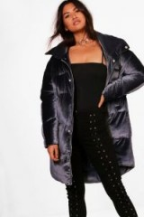 boohoo Ella Velvet Padded Coat | soft feel winter coats