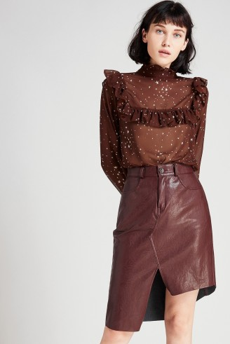 STORETS Elly Asymmetric Leather Skirt | stylish dark red skirts