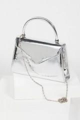 CHI CHI LONDON Elodie Mini Tote / luxe style bags / metallic silver handbags