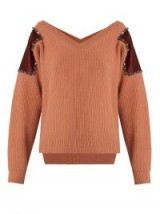 NO. 21 Embellished shoulder-patch wool sweater ~ pink bardot ribbed knit sweaters