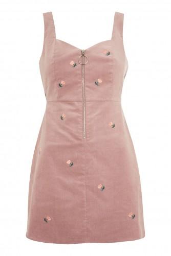 TOPSHOP Corduory Pini Dress / blush pink floral cord pinafore dresses