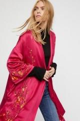 FREE PEOPLE Embroidered Silk Kimono Fushia / hot pink kimonos
