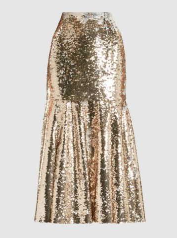 ‎EMILIA WICKSTEAD‎ Le-Roy Sequinned Skirt ~ fit and flare metallic midi skirts