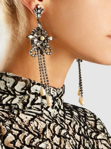 ERICKSON BEAMON China Club Pearl And Crystal Earrings ~ statement jewellery