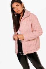 boohoo Erin Zip Through Teddy Coat ~ short pink coats