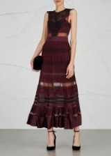 THREE FLOOR Essence burgundy lace maxi dress ~ dark red sheer panel dresses