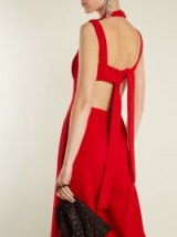 EMILIA WICKSTEAD Ethel wide-leg wool-crepe jumpsuit – red open back jumpsuits – evening allure