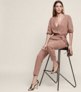 REISS ETTA WRAP-FRONT JUMPSUIT MOCHA / chic evening fashion / elegant jumpsuits