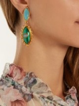 SYLVIA TOLEDANO Evil Eye gold-plated clip-on drop earrings ~ blue and green stone statement jewellery