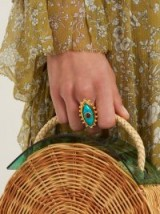 SYLVIA TOLEDANO Evil Eye gold-plated ring / turquoise-blue stone statement rings