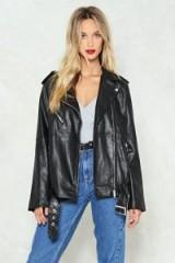 Nasty Gal Eye of the Tiger Vegan Leather Moto Jacket – black oversized longline biker jackets