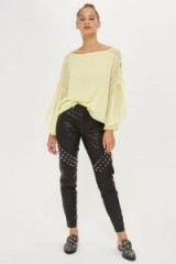 Topshop Eyelet Lace Up Blouse / lemon floaty sleeve blouses