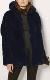 Karen Millen FAUX FUR COAT ~ glamorous blue coats