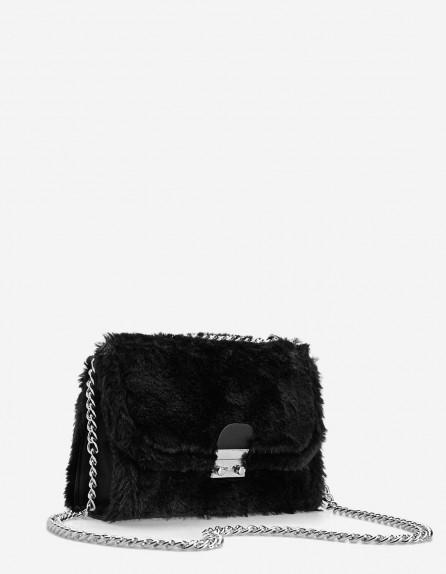 Stardivarius Faux fur crossbody bag with chain   fluffy black bags ... 33557d7d8055e