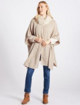 M&S COLLECTION Faux Fur Knitted Wrap ~ marks and spencer winter outerwear ~ glamorous wraps