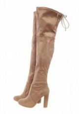 AX PARIS FAUX SUEDE KNEE HIGH HEELED BOOTS