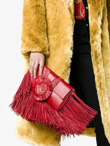 FENDI Baguette fringed shoulder bag / red leather bags / iconic handbags
