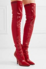 FENDI Rockoko red leather and ribbed-knit thigh boots ~ statement over the knee boots