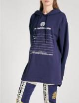 FENTY X PUMA Detention-print jersey hoody / blue slogan hoodies
