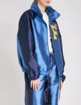 FENTY X PUMA Hooded satin jacket / silky blue leisure jackets / sports luxe fashion