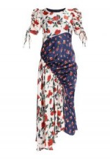 Finery London ASHNESS mixed roses dress / mix floral prints / ruched asymmetric hemline dresses