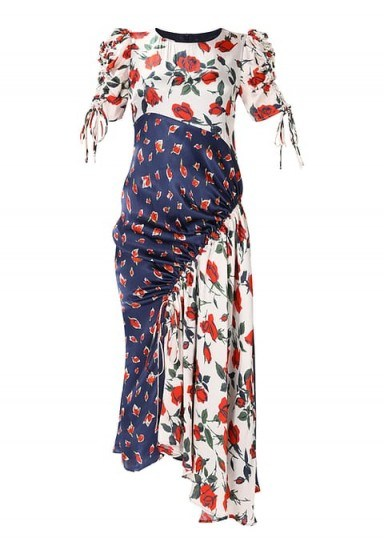 Finery London ASHNESS mixed roses dress / mix floral prints / ruched asymmetric hemline dresses - flipped