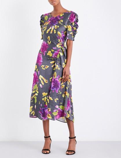 FINERY LONDON Brooklyn Multicolour Artist floral-print satin dress