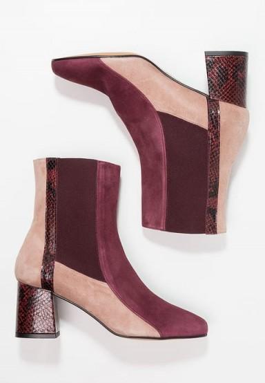 Finery London CLARISSA Boots burgundy / tonal colour block ankle boots