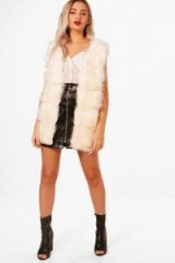 boohoo Fiona Faux Fur Gilet | cream gilets | fluffy sleeveless winter jackets