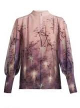 MARY KATRANTZOU Flame Fantasia©-print silk blouse ~ pink and purple printed blouses