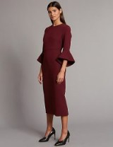 AUTOGRAPH Flared Sleeve Bodycon Midi Dress ~ berry-red wide cuff midi dresses ~ marks and spencer fashion