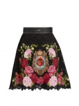 DOLCE & GABBANA Floral crest-embroidered lace mini skirt ~ luxe A-line skirts