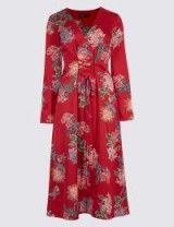 M&S LIMITED EDITION Floral Print Satin Swing Midi Dress ~ red lace up front dresses ~ marks and spencer fashion