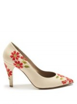 LOEWE Floral-embroidered leather pumps ~ white courts ~ red flowers