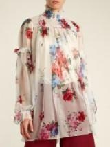 DOLCE & GABBANA Floral-print smocked-yoke silk-chiffon top ~ sheer high neck blouses ~ beautiful Italian fashion