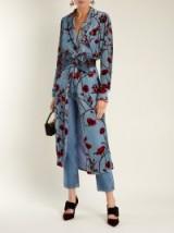 JOHANNA ORTIZ Florari floral-print belted kimono dress ~ blue velvet coats