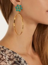 SYLVIA TOLEDANO Flower gold-plated clip-on hoop earrings ~ turquoise stone jewellery ~ statements hoops