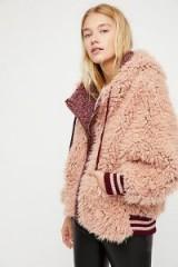 FREE PEOPLE Fluffy Dolman Jacket Merlot Combo / tonal pink faux fur jackets