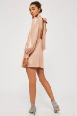 Topshop Foil High Neck Mini Dress | rose-pink back bow dresses