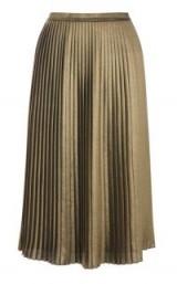 Warehouse FOIL PLEATED SKIRT / gold midi skirts