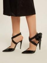 SAINT LAURENT Freja wraparound patent-leather pumps ~ black strappy rose embellished high heels