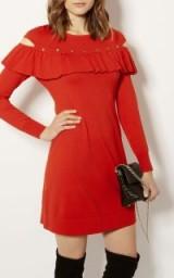 Karen Millen FRILL AND STUD KNITTED DRESS ~ red evening dresses