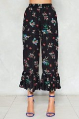 NASTY GAL Frills in the Night Ruffle Pants | cropped floral frill hem trousers