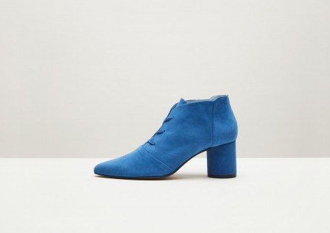 Finery Galway Blue Suede Lace-Up Boot / chunky heeled booties - flipped