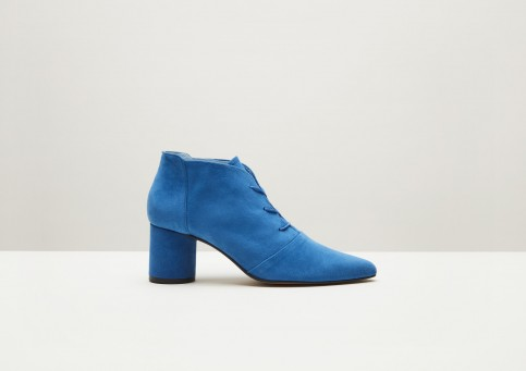 Finery Galway Blue Suede Lace-Up Boot / chunky heeled booties