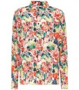 GANNI Maple printed silk shirt / multi-coloured floral shirts